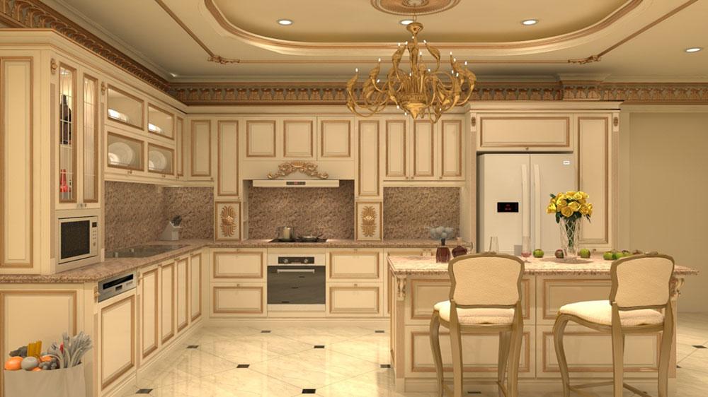 phân loại tủ bếp theo phong cách cổ điển