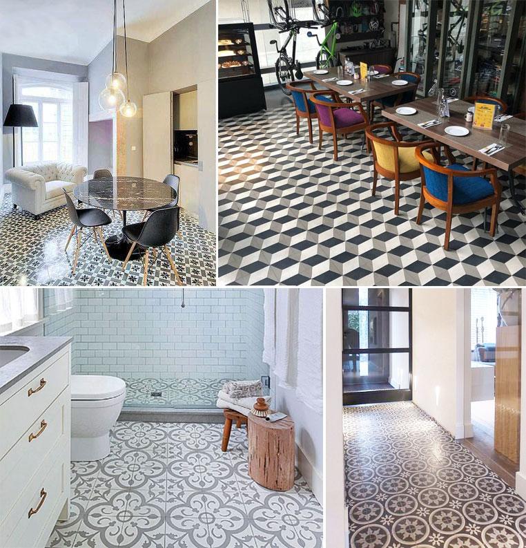 Sử dụng gạch bông lát nền cho tất cả không gian chức năng trong nhà.