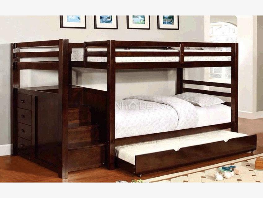 giường tầng trẻ em gỗ, có ngăn kéo