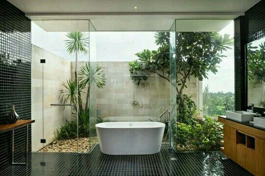 không gian xanh cho phòng tắm 9