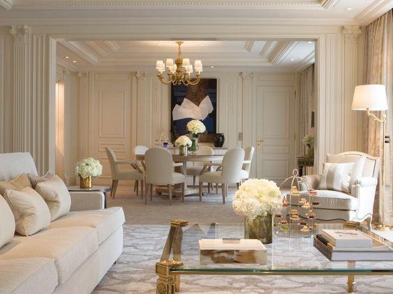 thiết kế phòng khách phong cách Pháp