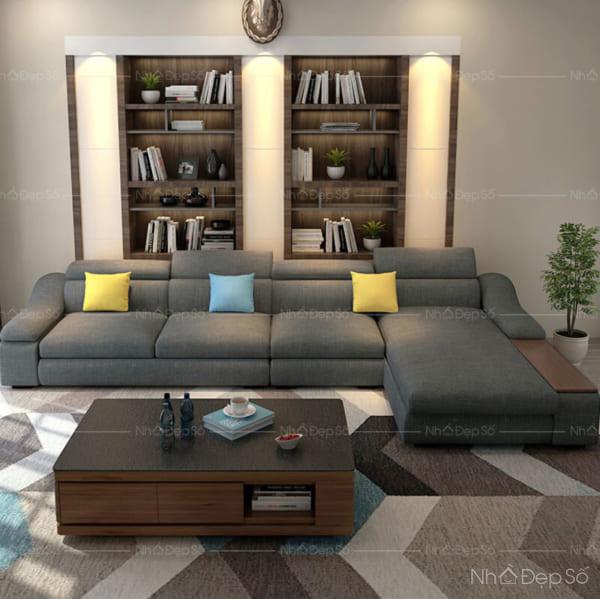 Không gian nội thất phòng khách với bộ sofa ghép cỡ lớn.