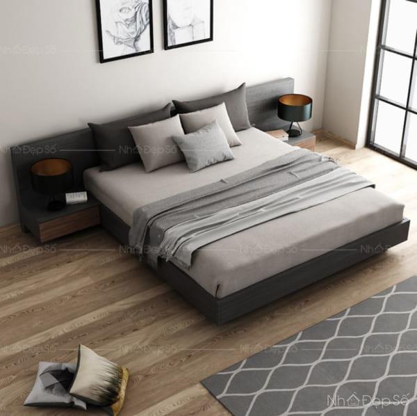 Không gian phòng ngủ với gam màu trầm chủ đạo.