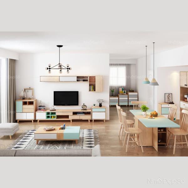 Không gian nội thất phòng khách và phòng ăn mang hơi hướng Bắc Âu.