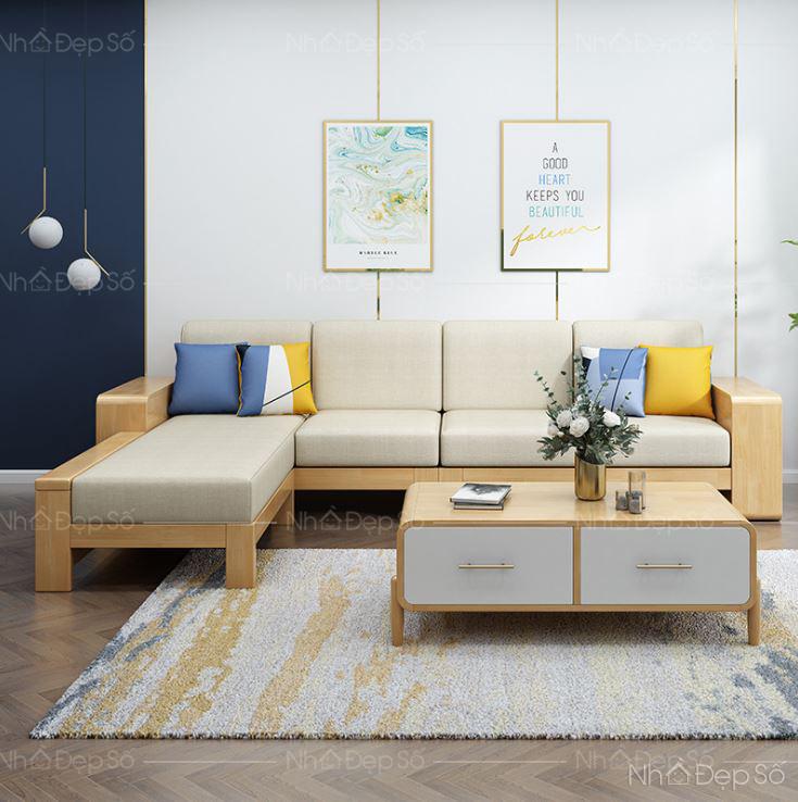 Không gian nội thất phòng khách với ghế sofa gỗ sồi cao cấp.