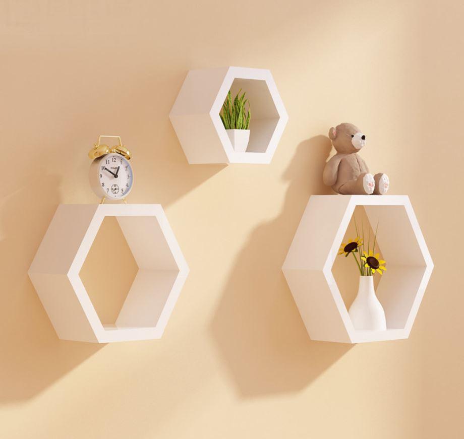 kệ treo tường lục giác màu trắng