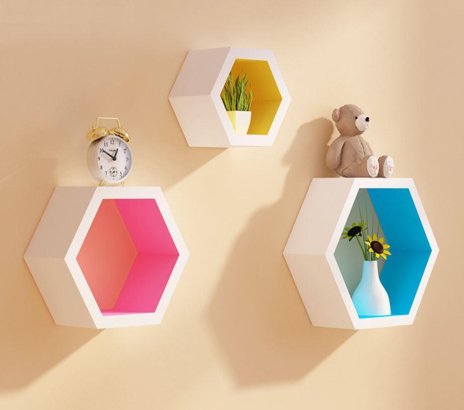 kệ treo tường lục giác màu sắc