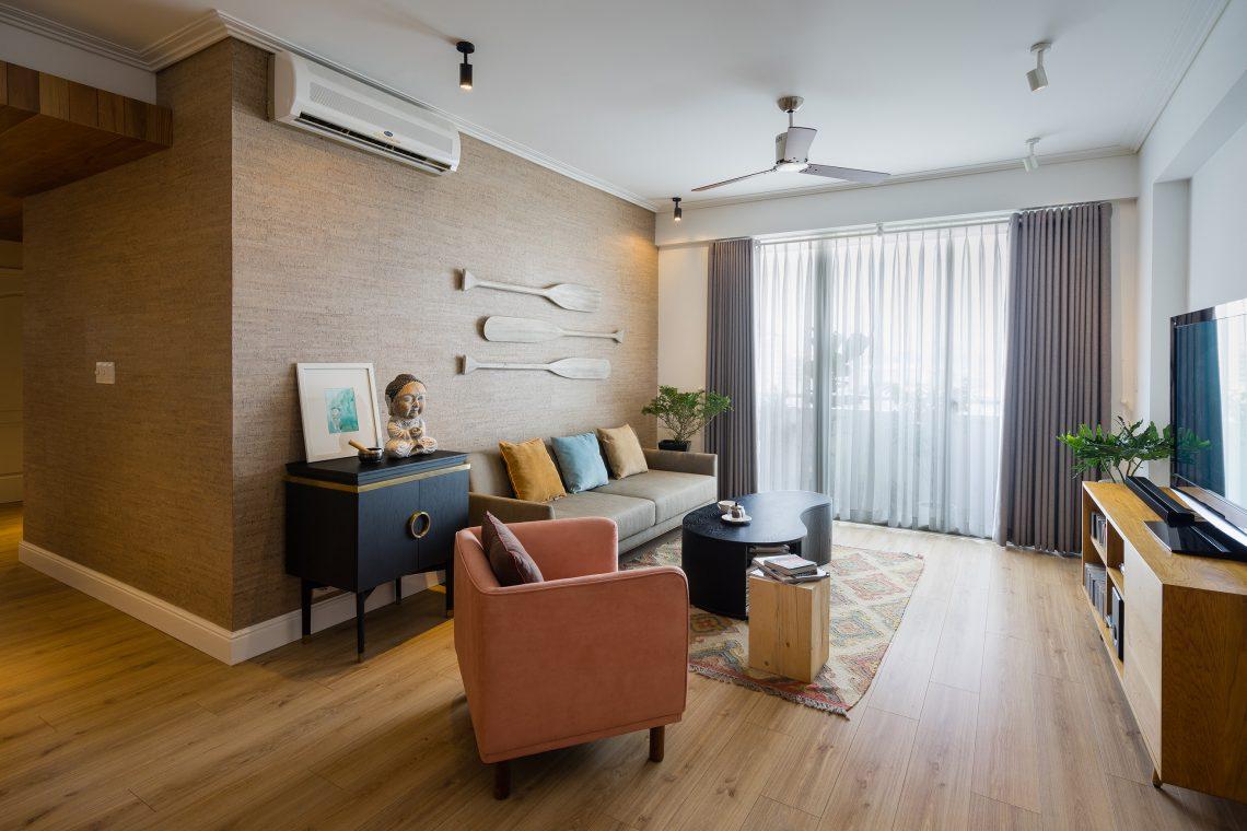 nội thất gỗ cao cấp màu nâu trầm ấm