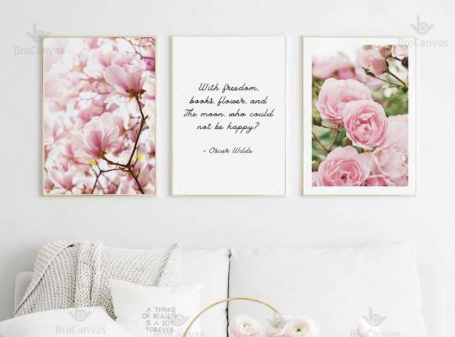 Tranh canvas kết hợp giữa hoa và chữ