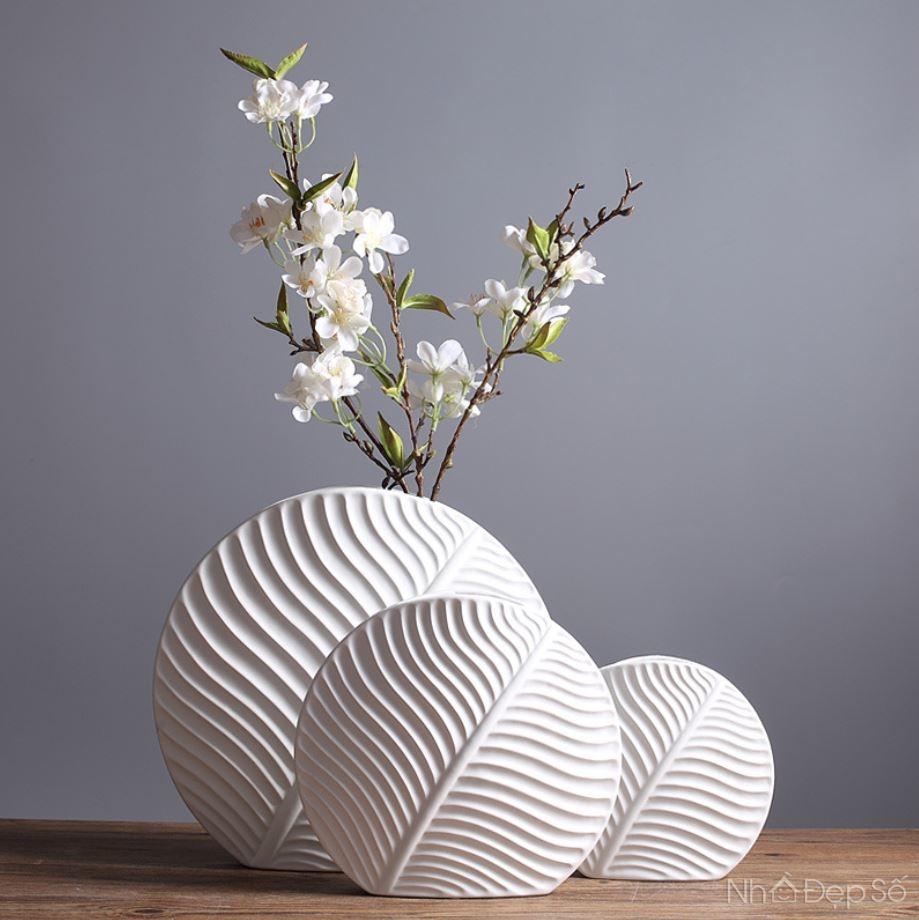 Bộ bình cắm hoa sóng lá nghệ thuật