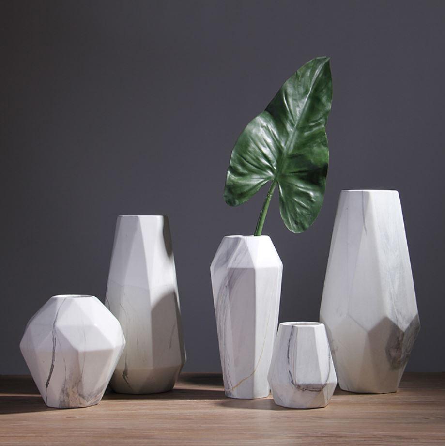 Bộ bình cắm hoa vân đá Marble hiện đại