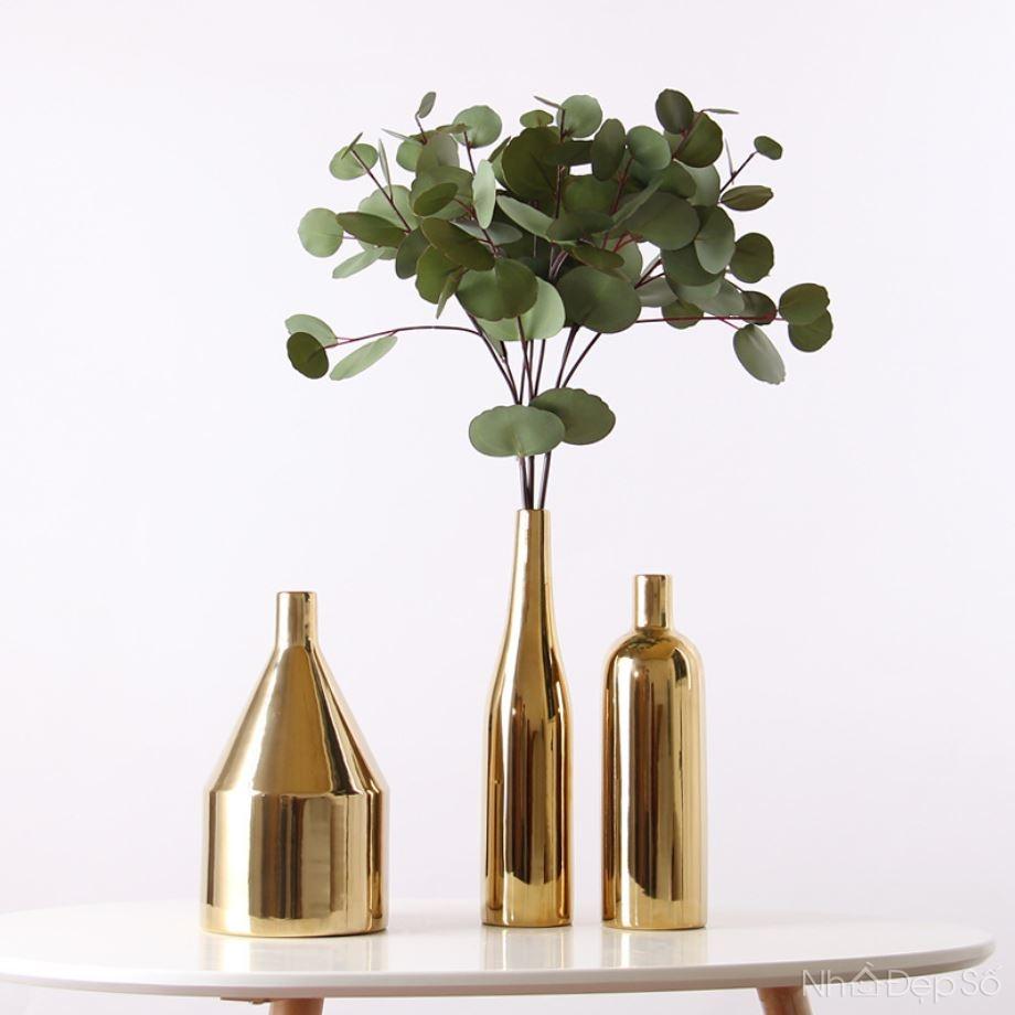 Bộ bình sứ mạ vàng kiểu ống