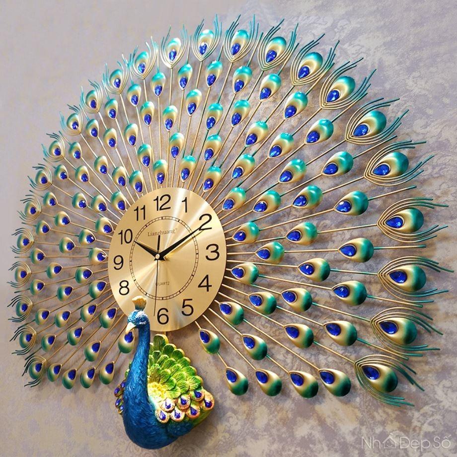 Đồng hồ treo tường hình khổng tước xòe đuôi