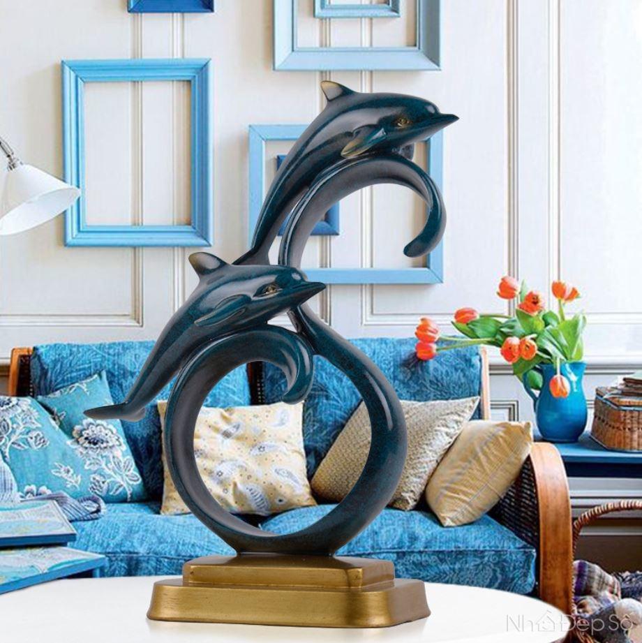tượng đôi cá heo vượt sóng - quà tân gia