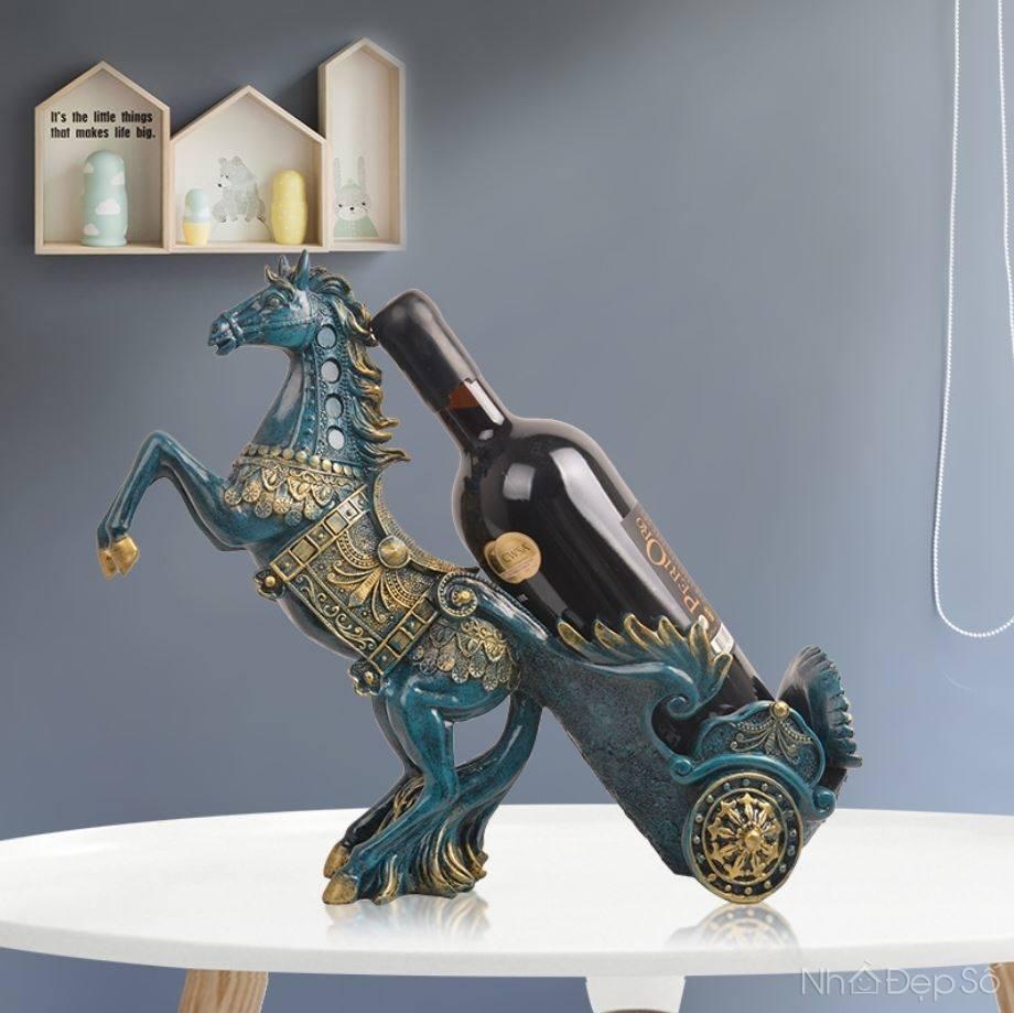 Tượng ngựa chầu giá rượu NDS142