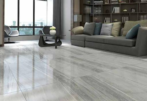 Gạch lát nền phòng khách chất liệu granite.