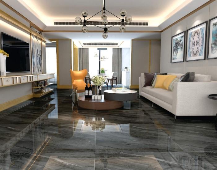 Gạch lát nền phòng khách tối màu đem lại cảm giác sang trọng, thanh lịch.