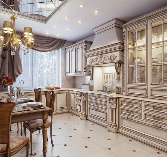 Mẫu tủ bếp đẹp chữ L cổ điển