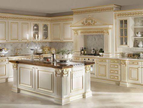 mẫu tủ bếp đẹp có đảo phong cách cổ điển