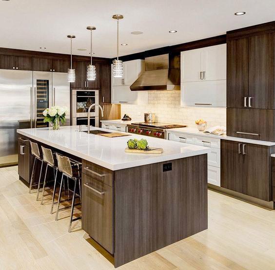 Mẫu tủ bếp đẹp có đảo phong cách hiện đại