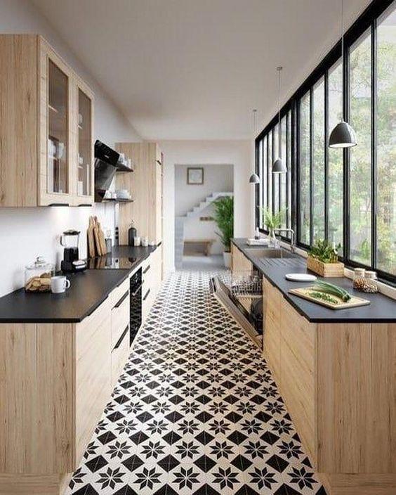 mẫu tủ bếp song song phong cách hiện đại