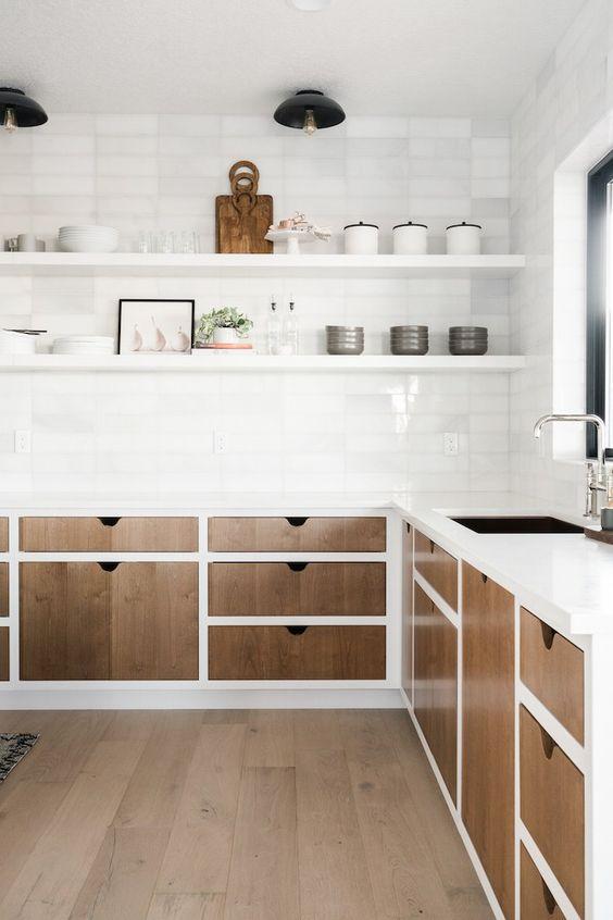hiệu ứng bề mặt và kết hợp giữa gỗ và màu trắng
