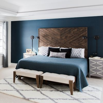 Lạ mắt với phòng ngủ màu xanh Navy kết hợp gỗ