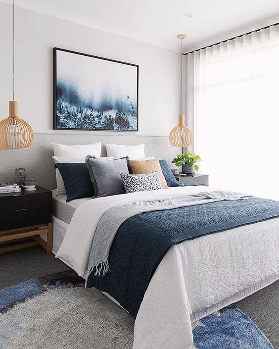 Lạ mắt với phòng ngủ màu xanh Navy kết hợp trắng