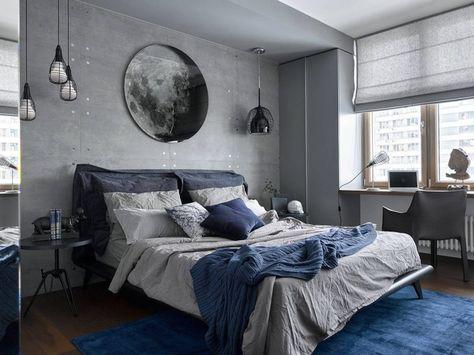 Lạ mắt với phòng ngủ màu xanh Navy kết hợp xám