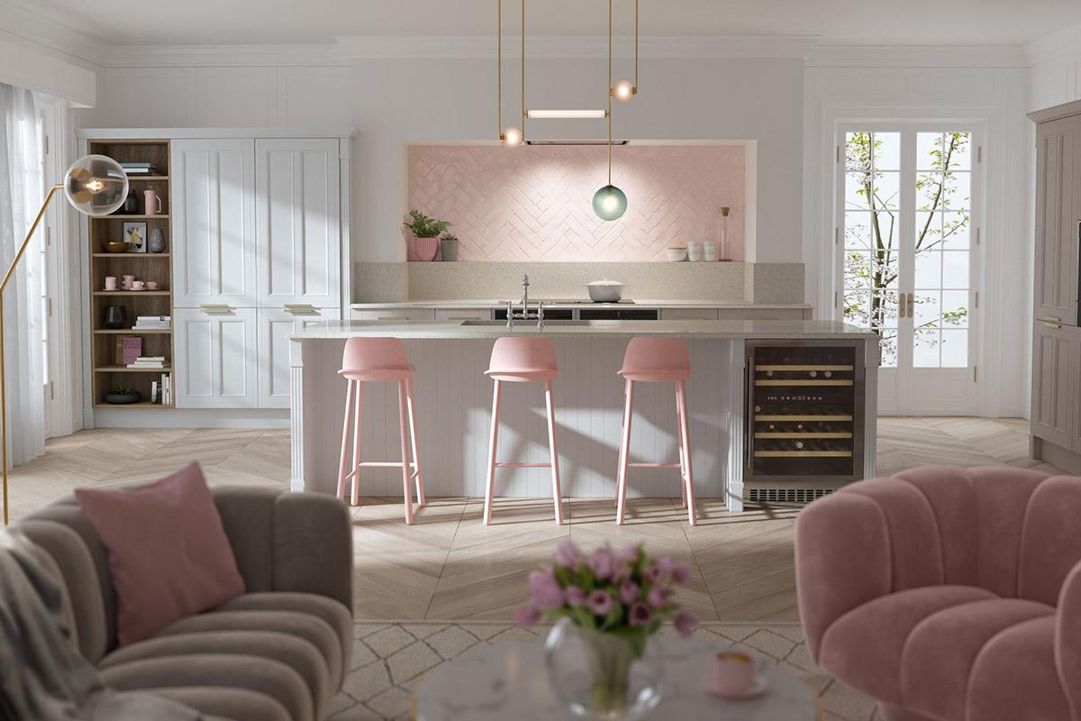 Mẫu bếp sử dụng vật dụng trang trí màu hồng