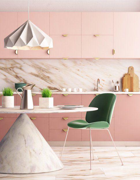 mẫu bếp tông màu hồng vật liệu đá