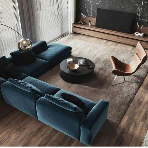 mẫu phòng khách màu xanh dương két hợp vật liệu gỗ