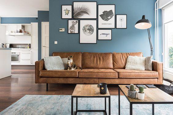 mẫu phòng khách màu xanh dương kết hợp với vật liệu da