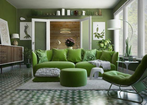 mẫu phòng khách sử dụng màu xanh lá cây