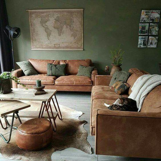mẫu phòng khách sử dụng màu xanh lấy cây kết hợp màu nâu