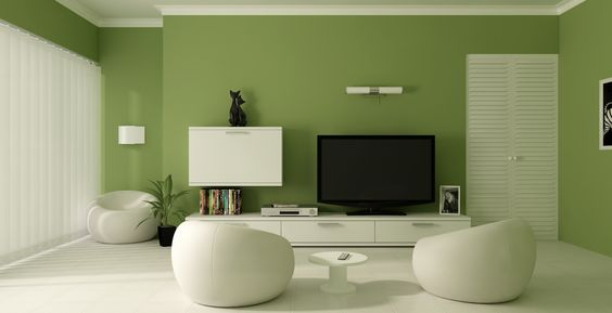 mẫu phòng khách sử dụng màu xanh lá cây kết hợp màu trắng