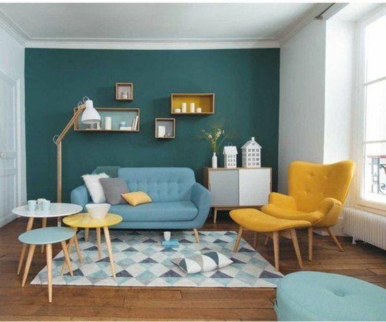 mẫu phòng khách sử dụng màu xanh lá cây kết hợp màu vàng