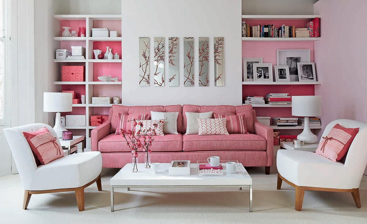 mẫu phòng khách tông màu hồng kết hợp màu trắng