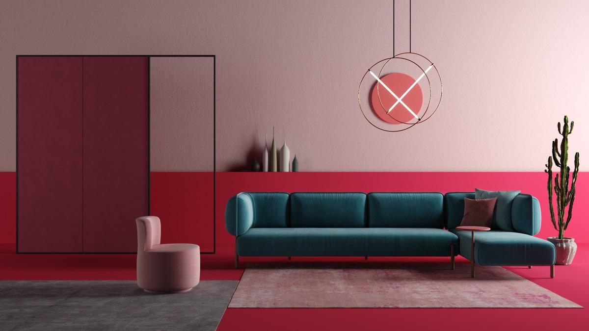 mẫu phòng khách màu hồng kết hợp màu tương phản