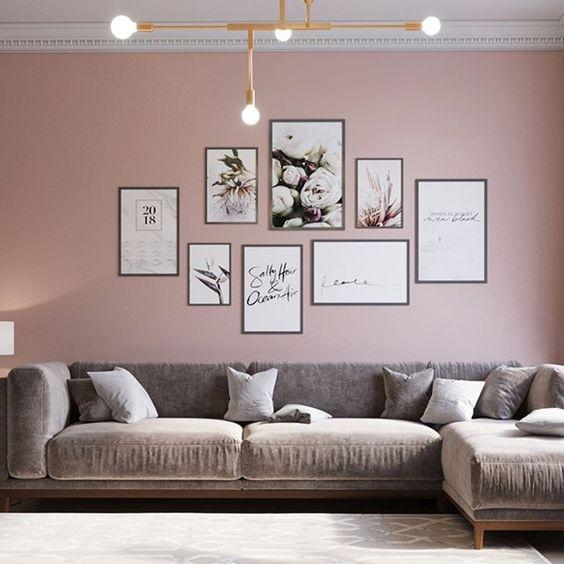 mẫu phòng khách màu hồng kết hợp màu xám