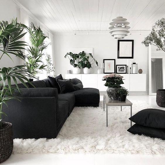 mẫu phòng khách tong màu trắng-xám-đen hiện đại màu đen trắng