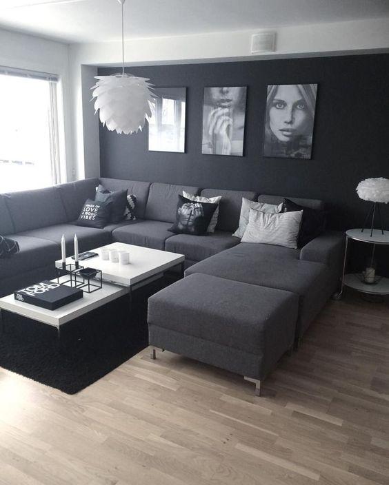 mẫu phòng khách tông màu trắng-xám-đen hiện đại màu đen trắng sàn gỗ