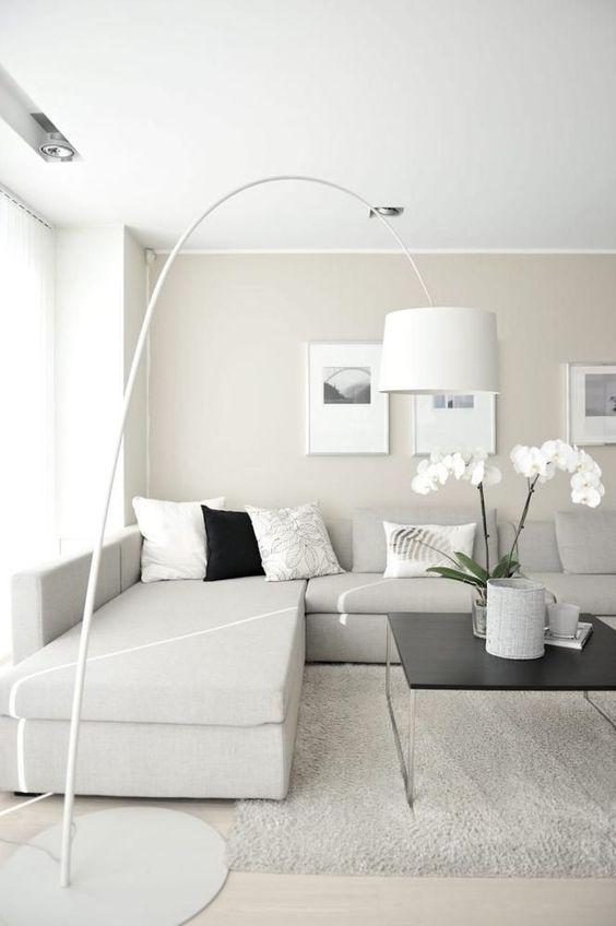 mẫu phòng khách tông màu trắng-xám-đen hiện đại màu trắng