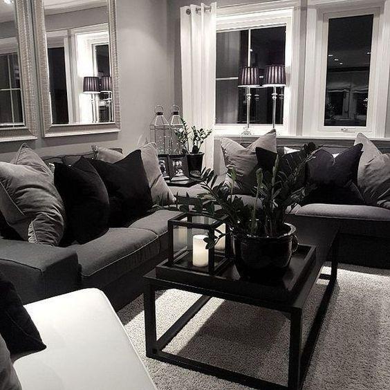mẫu phòng khách tông màu trắng-xám-đen hiện đại màu xám đen