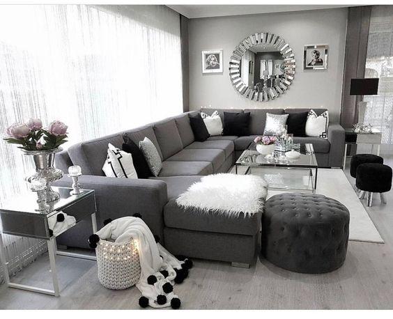 mẫu phòng khách tông màu trắng-xám-đen hiện đại màu xám đen sàn gỗ