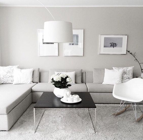 mẫu phòng phách tông màu trắng-xám-đen hiện đại màu xám trắng