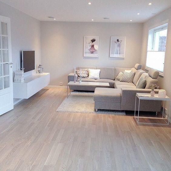 mẫu phòng khách tông màu trắng-xám-đen hiện đại màu xám trắng sàn gỗ