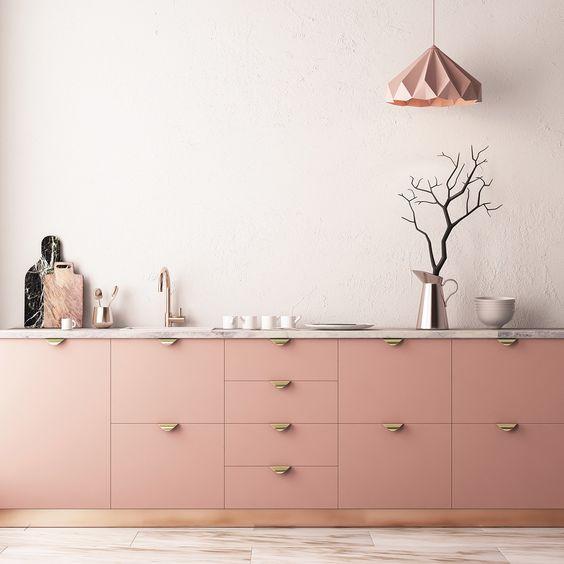 mẫu tủ bếp tông màu pastel ấm áp
