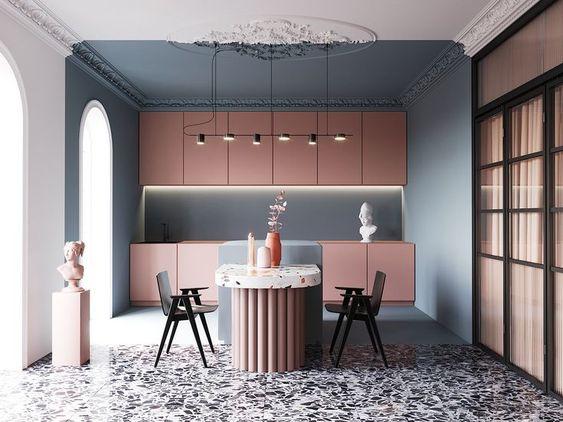mẫu tủ bếp tông màu pastel kết hợp với nhau