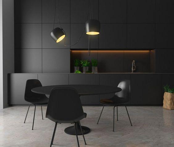 mẫu tủ bếp với gam màu trung tính hiện đại màu đen